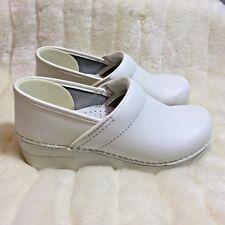 Dansko Professional White Leather Nursing Slip On Clogs Shoes Size 38 US 7.5 8