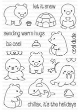 Clearly Besotted ARCTIC ANIMALS Stamp Set Bears Seal Penguin Walrus Penguin CUTE
