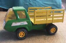 Vintage TONKA Pickup Truck Pressed Steel Toy Green & Yellow Dump Farm Land