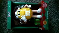 """-53- 2019 M&M's Yellow 10"""" Character Christmas Musical Light Up Candy Dispenser"""