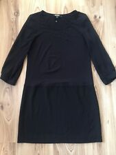 DKNY Women's Black Sheer Sleeve Stretch T Shirt Mini Dress Size Small Scoop Neck