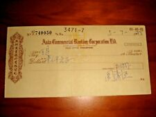 Singapore 1975 Asia Commercial Banking Corporation Ltd., obsolete check, used