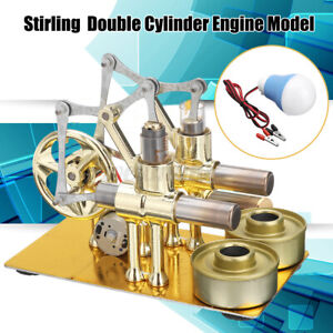 6.3'' LED Double Cylinder Engine Model Hot Air Stirling Steam Generator Gift UK