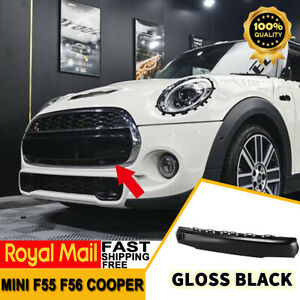 For MINI F55 F56 Cooper JCW Front Bumper Number Plate Cover Glossy Black (UK)