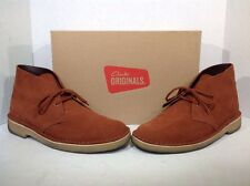 Clarks Mens Size 7.5 Desert Boots Dark Tan Suede Lace Up Ankle Boots ZK-915