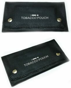 1 BLACK LEATHER SOFT TOBACCO POUCH LINED PAPER SLOT ROLLING POCKET RIZLA SMOKING