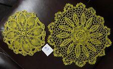 "New ListingSet of 2 Gold Hand Crochet Crocheted Round Doilys 11"" & 16"""