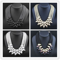 Women Lady Choker Chunky Statement Bib Knit Necklace Fashion Charm Jewelry Chain