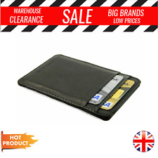 Slim black real leather credit card oyster holder mini thin wallet photo ID case