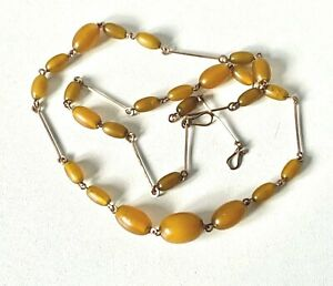 Vintage Antique ART DECO Faux Amber Beads on Rolled Gold Wire Necklace - 22inch