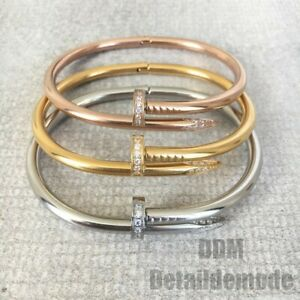 """Bracelet """"CLOU LUXE STRASS"""" argent, or, or rose (love Bracciale nail)"""