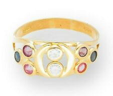 18Carat Gold Sapphire Ruby & Simulated Diamond Cluster Ring (Size M 1/2)