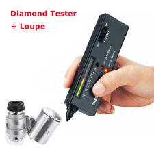 Portable Jeweler Diamond Tool Gemstone Tester Selector + 60X Illuminated Loupe #