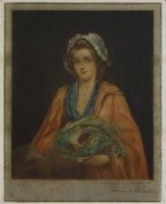 Herbert Stodart Antique Pencil Signed Mezzotint Engraving. Young Female Portrait
