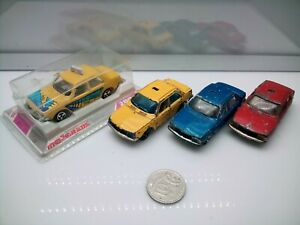 Majorette France #266 Renault 18 Taxi - Yellow - Blue - Red / Boxed & Unboxed x4