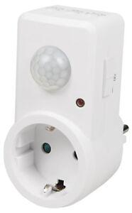 Infrarot Bewegungsmelder Steckdose mit Dämmerungs 120° Sensor Licht LED Lampen