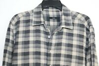 Saba Men's Long Sleeve Grey Checked Flannelette Shirt Size L