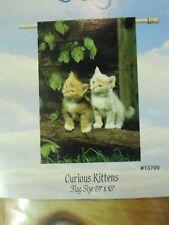 Sweet Curious Kittens / Cats on Garden Log for Spring / Summer House flag