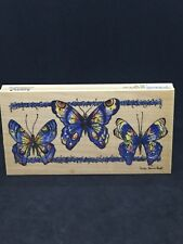 """Stamps Happen, Inc. LARGE """"Butterflies"""" Wood Mounted Rubber Stamp, #90247"""