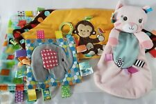 Lot x4 Taggies Baby Lovey Security Blanket Elephant Kitty Rattle Crinkle Squeak