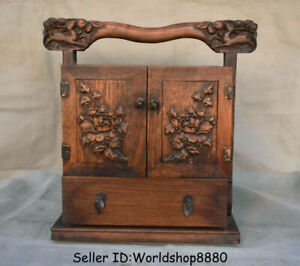 """2.6"""" Old China Huanghuali Wood Dynasty Portable Flower drawer Chest container"""