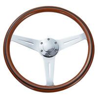 380mm Wood Grain Wooden Steering Wheel With Black Trim Silver Spoke Universal