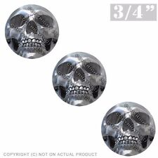 """3 Pack Gel Top Domed Glossy 3/4"""" 3M Premium Decal Stickers PRINTED CHROME SKULL"""