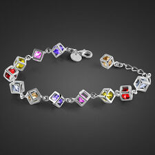 """Genuine Solid Sterling Silver Rainbow Crystal CZ Chain Boxes Bracelet 8"""" SB054"""