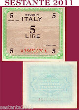 ITALIA ITALY  5 AM LIRE 1943 FLC, ALLIED MILITARY CURRENCY,  P M12a  FDS- / UNC-