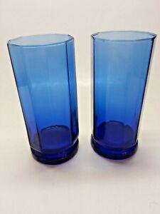Vintage 2 Cobalt Blue Essex Multisided Anchor Hocking Glasses Tumblers