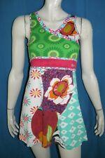 DESIGUAL Fille 13 / 14 ans superbe robe légère vert rose bleu en coton dress