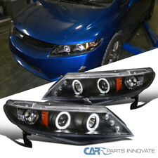 For 06-11 Honda Civic 4Dr Sedan Matte Black LED Halo Projector Headlights Lamps