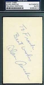 Alan Ameche Signed 3x5  Index Card Psa/dna Coa Authentic Autograph