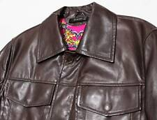$1,295 DIWON Nappa Brown Leather & Silk-Lined Fuchsia & Gold Jean Jacket Small