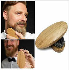Natural Boar Bristle Beard Brush Moustache Wood Round Handle Mens Beard Brush