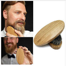 Natural Boar Bristle Beard Brush Moustache Round Wood Handle Mens Beard Brush