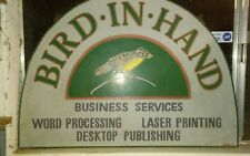 custom. Bird in hand named business sign word processing fax etc office services