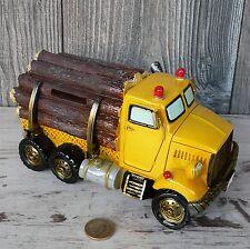 Spardose LKW Holztransporter Langholzwagen Truck Holz gelb Sparschwein 20cm groß