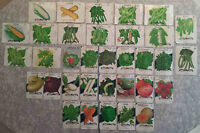 34 DIFFERENT OLD VEGETABLE SEED PACKETS    UNUSED    GREAT FOR FRAMING  NO SEEDS