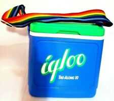 Vintage 90s Igloo Rainbow Strap Tag Along 10 Cooler Lunch Picnic Box Blue Green