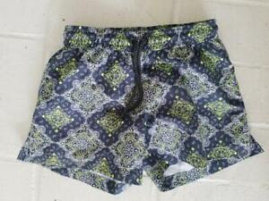 SUNUVA Designer $55 Boys Gray Yellow Medallion Swim Trunks Suit Board Shorts 3 4