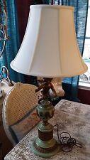 Baroque Green and Gilt Metal Cupid Lamp