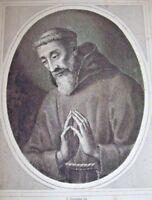 SANTINO ANTICO Beato BENEDETTO DA URBINO  '800 antica stampa incisione Ex VOTO