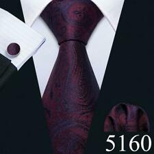 Mens Ties Necktie Silk Red Blue Black Pink Yellow Solid Paisley Striped Tie Set