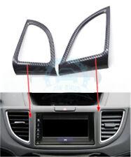 2Pcs For Honda CRV CR-V 2012-16 Carbon Fiber Middle A/C Vent Cover Trim re