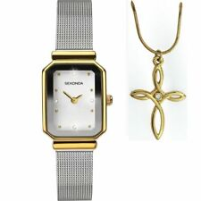 Sekonda White Dial Milanese Strap Ladies Watch and Pendant Gift Set 2464P