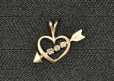 14k Yellow Gold Diamond Heart Pendant - Gently Used - J-140A