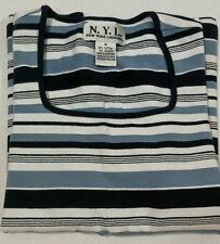 New York Laundry Womens Knit Top Blue Striped Size Medium Three Quarter Sleeve