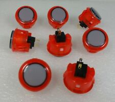 Japan Sanwa Clear Mix Red Black Buttons X 8 pcs OBSC-30 Video Game Arcade Parts