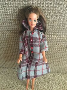 Barbie Doll Winter Coat Handmade Wool? Light Blue Wine Pockets Collar Lined